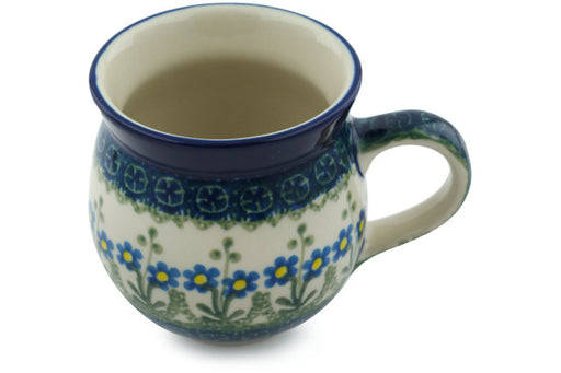 Polish Pottery Bubble Mug 12 oz Blue Daisy Circle Theme