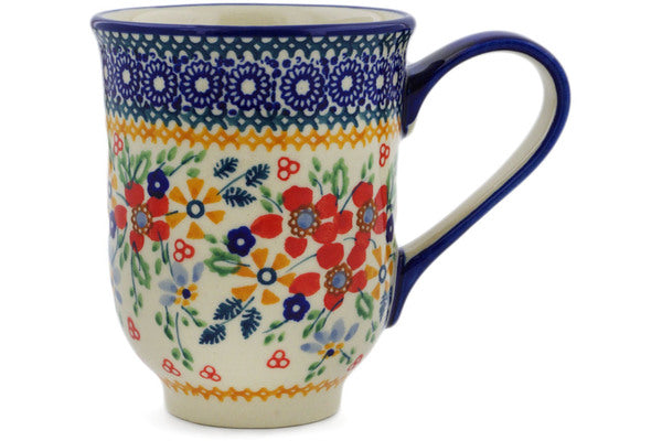 Polish Pottery Mug 12 oz Ruby Bouquet Theme UNIKAT