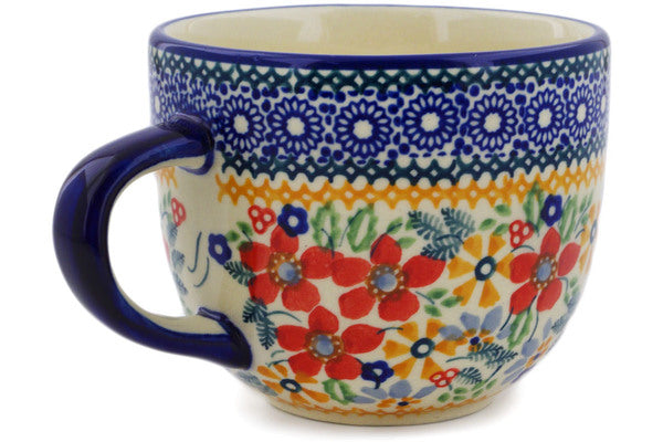 Polish Pottery Mug 13 oz Ruby Bouquet Theme UNIKAT