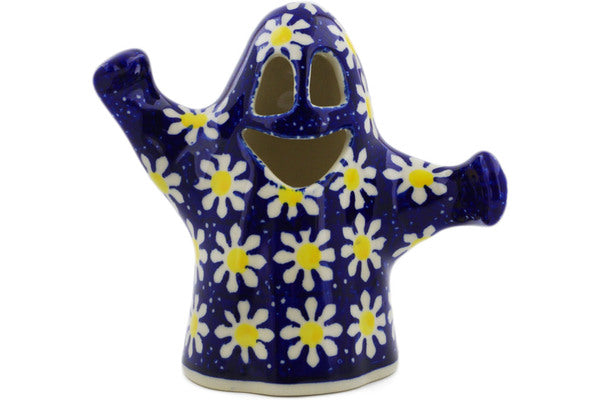 "Polish Pottery Candle Holder 5"" Daisy Theme"