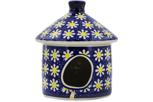 "Polish Pottery Birdhouse 7"" Daisy Theme"