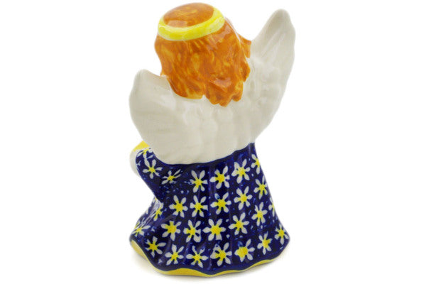 "Polish Pottery Angel Figurine 5"" Daisy Theme"