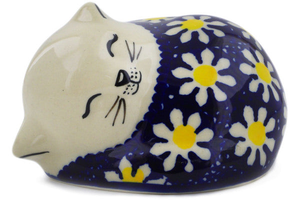 "Polish Pottery Cat Figurine 4"" Daisy Theme"
