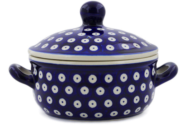 "Polish Pottery Baker with Cover with Handles 8"" Peacock Eyes Theme"