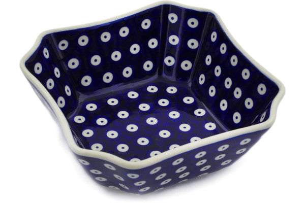 "Polish Pottery Square Bowl 7"" Peacock Eyes Theme"