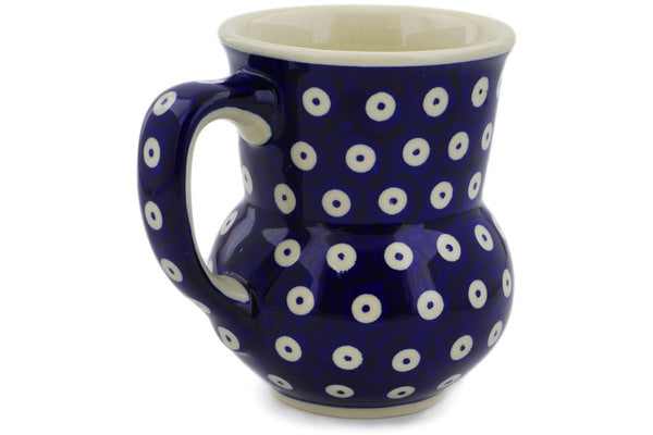 Polish Pottery Mug 15 oz Peacock Eyes Theme