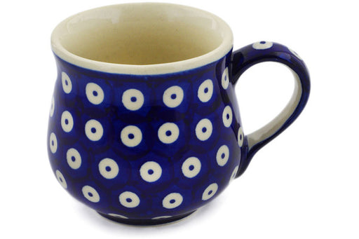 Polish Pottery Mug 8 oz Peacock Eyes Theme