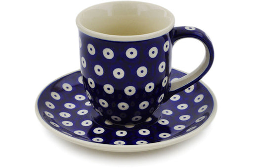 Polish Pottery Cup with Saucer 7 oz Peacock Eyes Theme