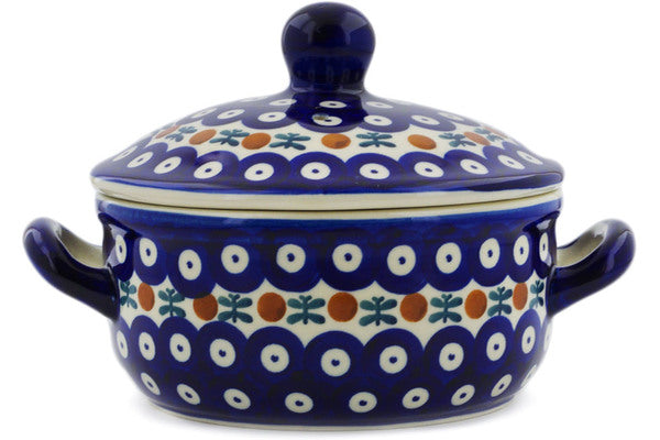 "Polish Pottery Baker with Cover with Handles 8"" Mosquito Theme"