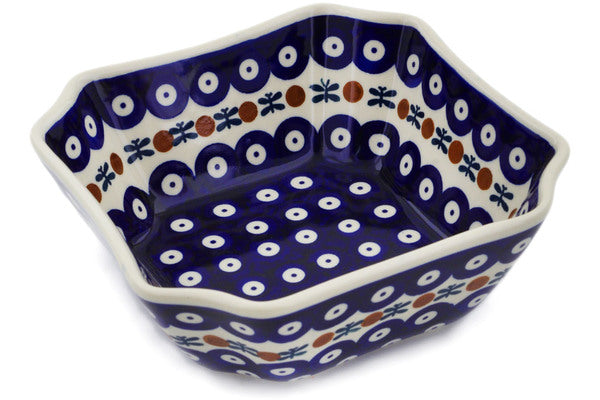 "Polish Pottery Square Bowl 7"" Mosquito Theme"