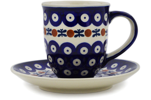 Polish Pottery Cup with Saucer 7 oz Mosquito Theme