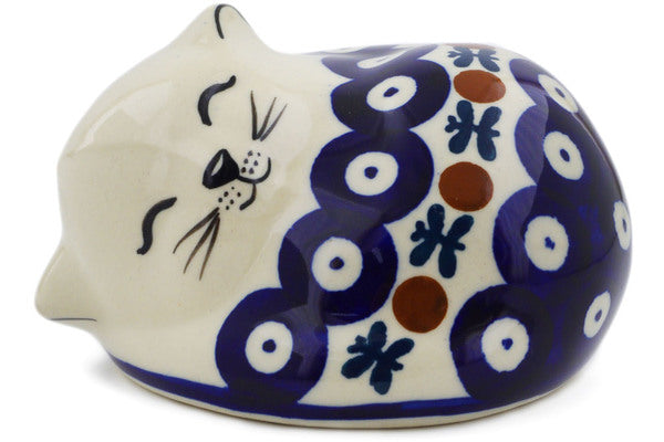 "Polish Pottery Cat Figurine 4"" Mosquito Theme"