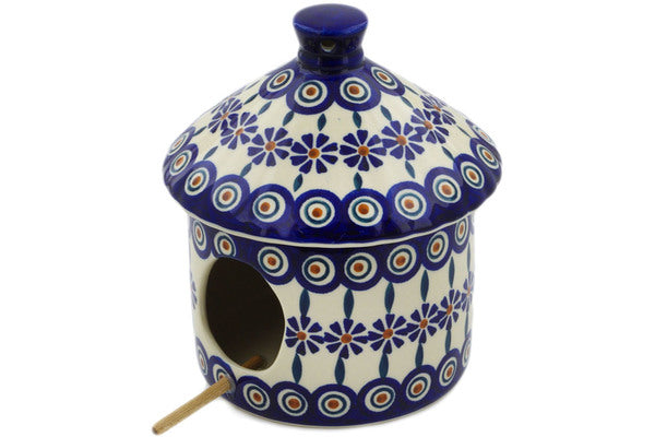 "Polish Pottery Birdhouse 7"" Peacock Theme"