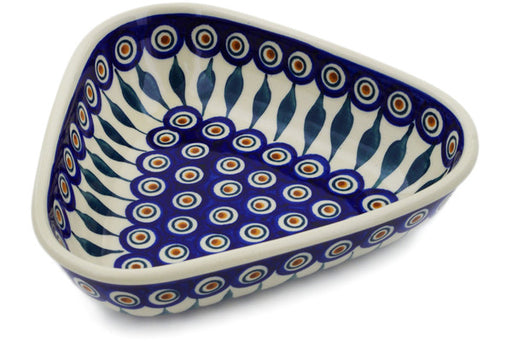 "Polish Pottery Bowl 8"" Peacock Theme"