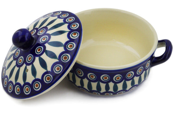 "Polish Pottery Baker with Cover with Handles 8"" Peacock Theme"