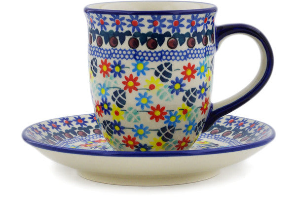 Polish Pottery Cup with Saucer 7 oz Primary Spring Theme UNIKAT