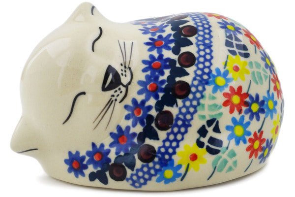 "Polish Pottery Cat Figurine 4"" Primary Spring Theme UNIKAT"