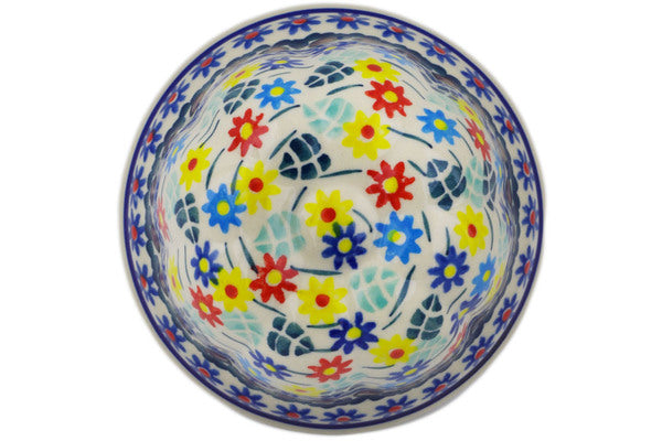 "Polish Pottery Bundt Cake Pan 4"" Primary Spring Theme UNIKAT"