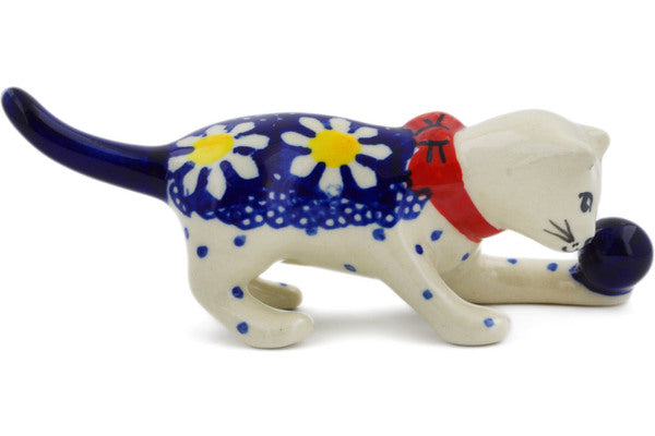"Polish Pottery Cat Figurine 5"" Daisy Theme"