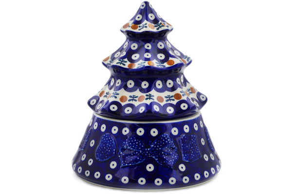 "Polish Pottery Christmas Tree 8"" Mosquito Theme"