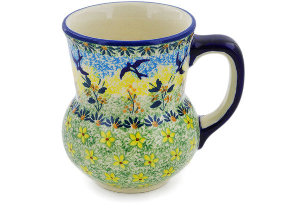 Polish Pottery Mug 15 oz Birds In The Sunset Theme UNIKAT