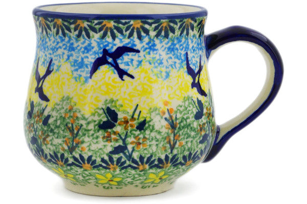 Polish Pottery Mug 8 oz Birds In The Sunset Theme UNIKAT