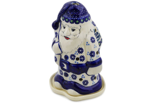 "Polish Pottery Santa Candle Holder 6"" Falling Snowflakes Theme"