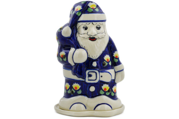"Polish Pottery Santa Candle Holder 6"" Waterlily Theme"