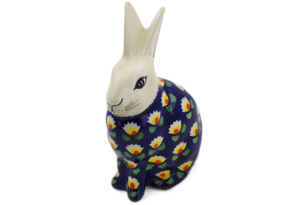 "Polish Pottery Bunny Figurine 6"" Waterlily Theme"