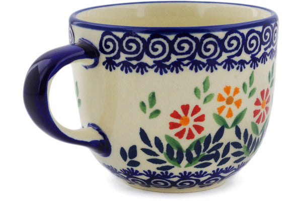 Polish Pottery Mug 13 oz Wave Of Flowers Theme