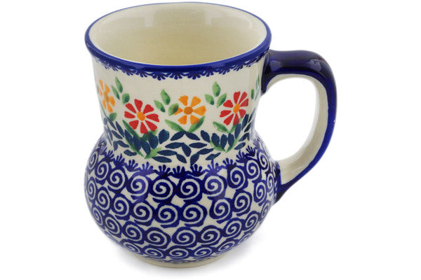 Polish Pottery Mug 15 oz Wave Of Flowers Theme