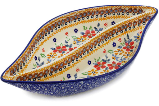 "Polish Pottery Divided Dish 12"" Summer Bouquet Theme UNIKAT"