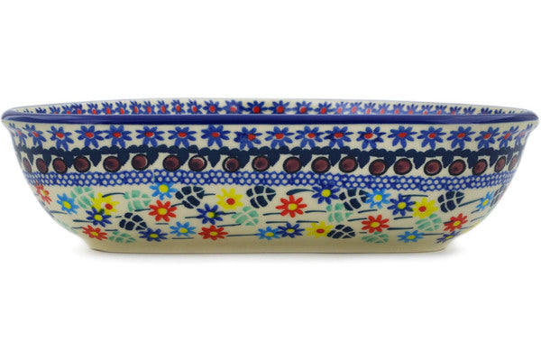 "Polish Pottery Bowl 8"" Primary Spring Theme UNIKAT"