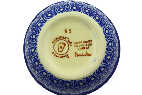 "Polish Pottery Bowl 4"" Summer Bouquet Theme UNIKAT"