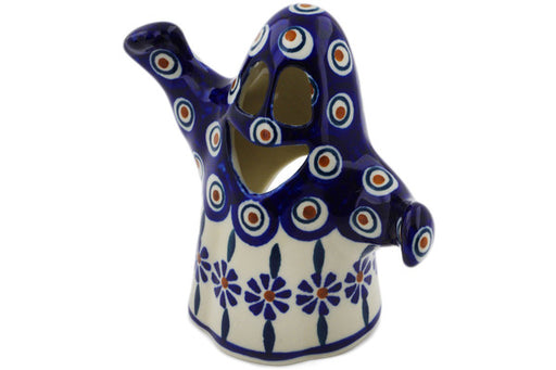 "Polish Pottery Candle Holder 5"" Peacock Theme"