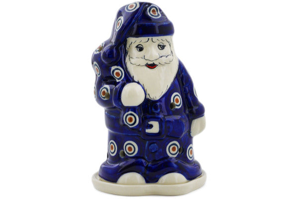 "Polish Pottery Santa Candle Holder 6"" Peacock Theme"