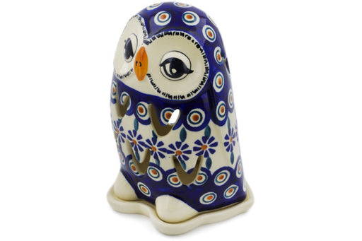 "Polish Pottery Candle Holder 6"" Peacock Theme"