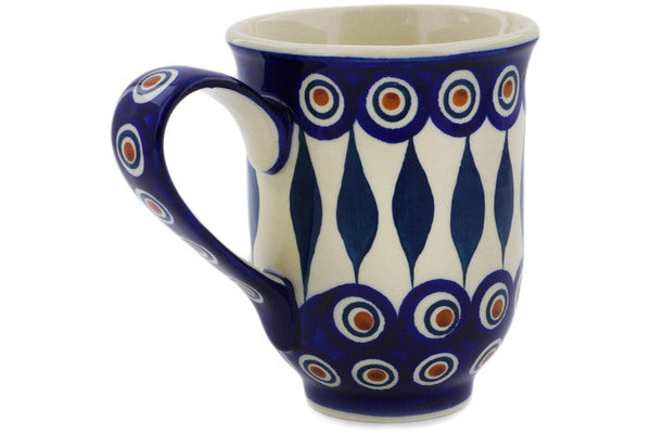 Polish Pottery Mug 12 oz Peacock Theme