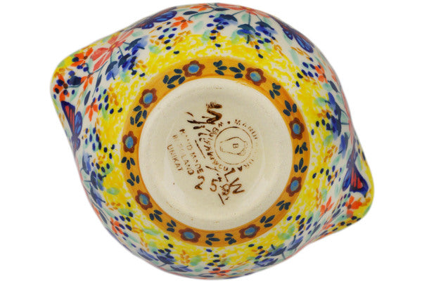 Polish Pottery Sugar Bowl 9 oz Butterfly Summer Garden Theme UNIKAT