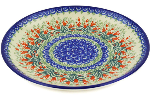 Polish Pottery Dinner Plate 10½-inch Crimson Bells Theme