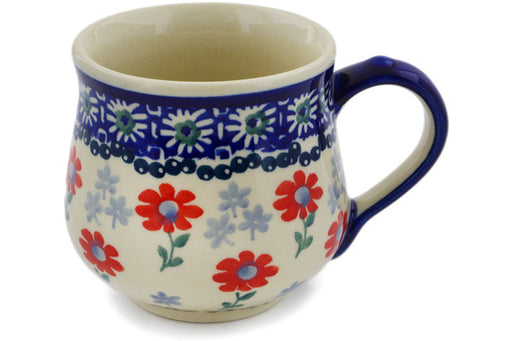 Polish Pottery Mug 8 oz Full Blossom Theme