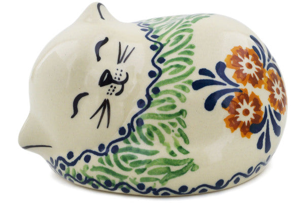"Polish Pottery Cat Figurine 4"" Three Lillies Theme UNIKAT"