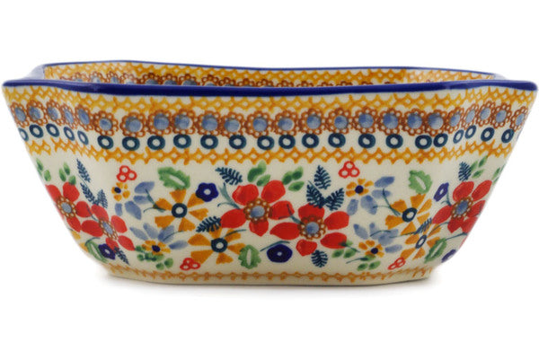 "Polish Pottery Square Bowl 7"" Summer Bouquet Theme UNIKAT"