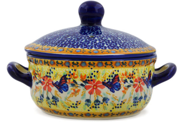 "Polish Pottery Baker with Cover with Handles 8"" Butterfly Summer Garden Theme UNIKAT"