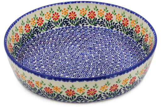 "Polish Pottery Bowl 12"" Wave Of Flowers Theme"