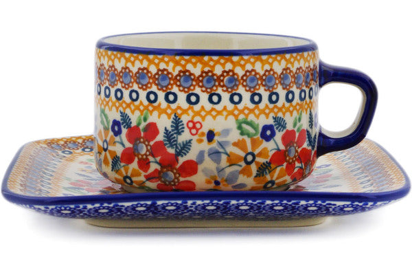 Polish Pottery Cup with Saucer 9 oz Summer Bouquet Theme UNIKAT