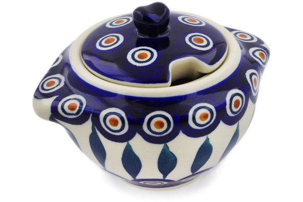 Polish Pottery Sugar Bowl 9 oz Peacock Theme