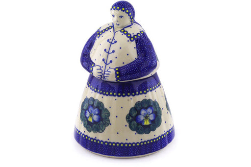 Polish Pottery Woman Shaped Jar 71 oz Flower In The Grass Theme UNIKAT
