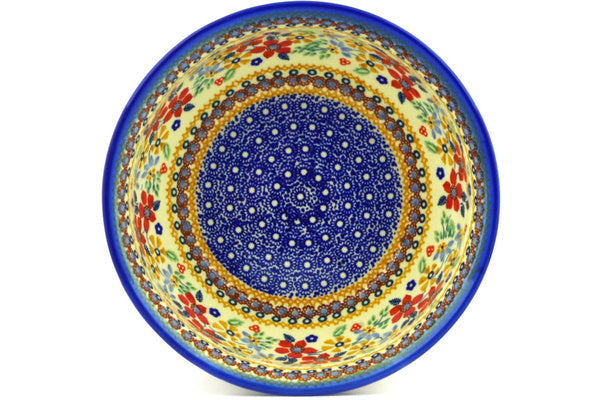 "Polish Pottery Bowl 9"" Summer Bouquet Theme UNIKAT"