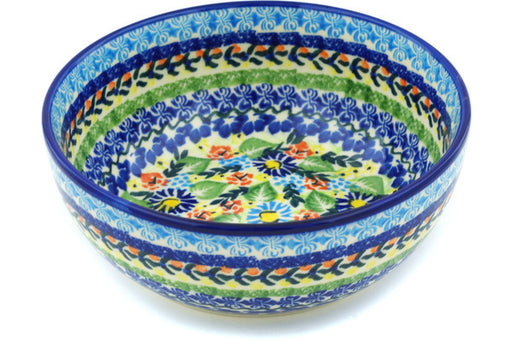 "Polish Pottery Bowl 7"" Flor-de-lis Theme"